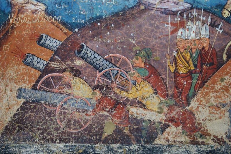 Moldovita, Belagerung des Konstantinopolis-Freskos, particu lizenzfreie stockbilder
