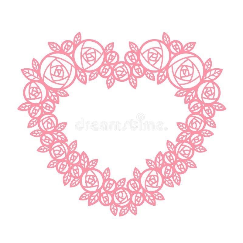 Moldura de coração rosa com estrutura abstrata de flor da flor da Line Wreath rose ilustração do vetor