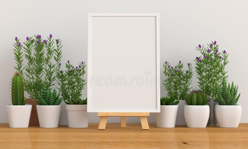 Moldura de foto em branco para modelagem com cacto e flor, renderização em 3D ilustração do vetor