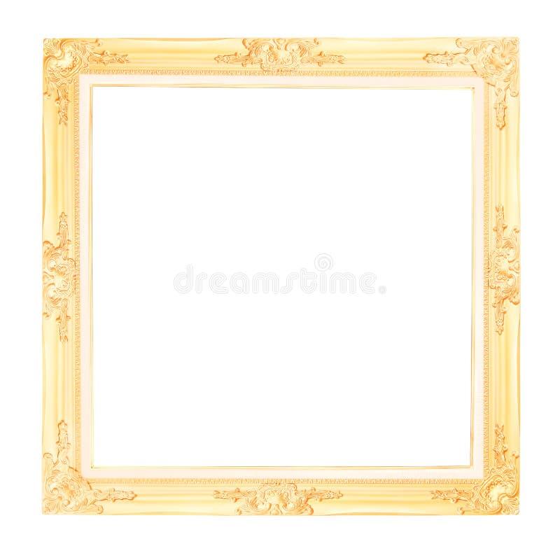 Moldura para retrato antiga do ouro isolada no fundo branco com trajeto de grampeamento foto de stock