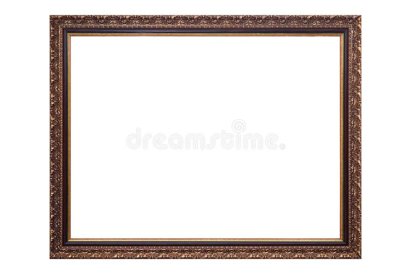 Moldura para retrato antiga do ouro isolada no fundo branco, trajeto de grampeamento fotografia de stock