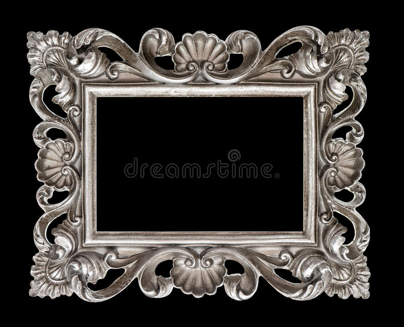 Moldura para retrato barroco de prata do estilo do vintage isolada sobre o preto fotografia de stock royalty free