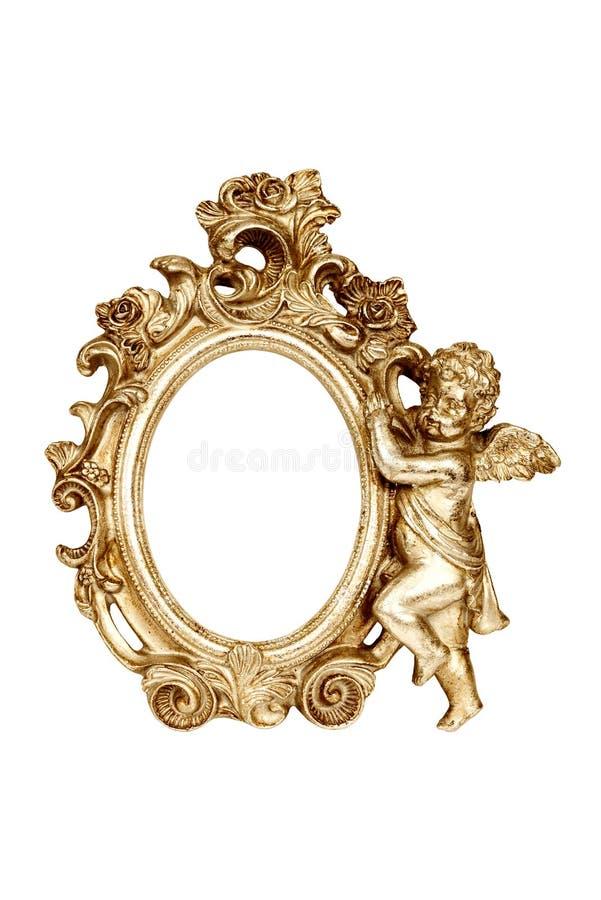 Moldura para retrato barroco oval do ouro fotografia de stock