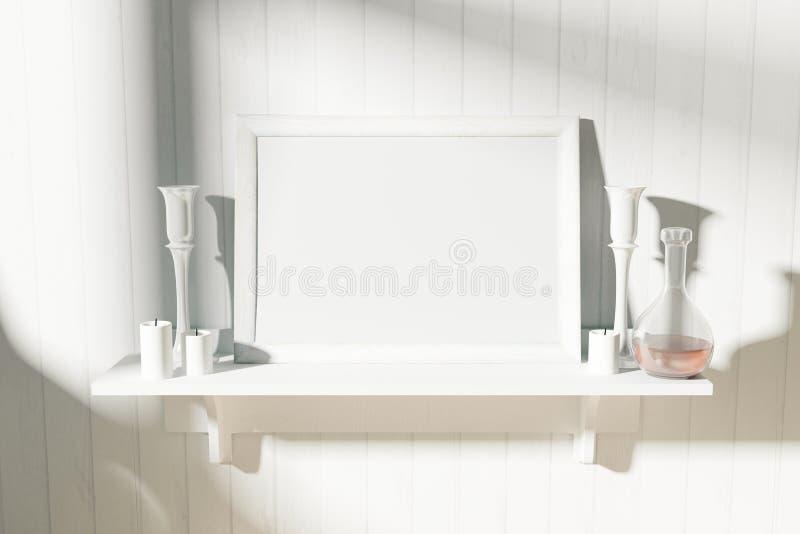 Moldura para retrato branca vazia com os castiçal na prateleira branca na SU imagens de stock