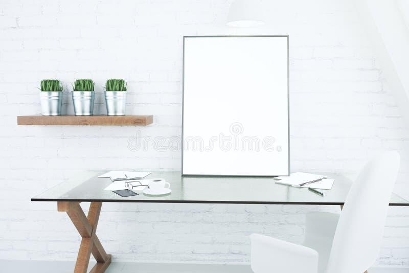 Moldura para retrato branca vazia na tabela vítreo na sala moderna do sótão, m ilustração royalty free