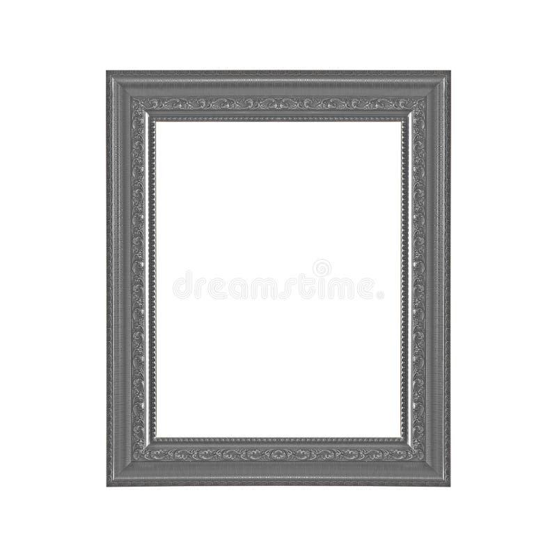 Moldura para retrato cinzenta no fundo branco imagens de stock