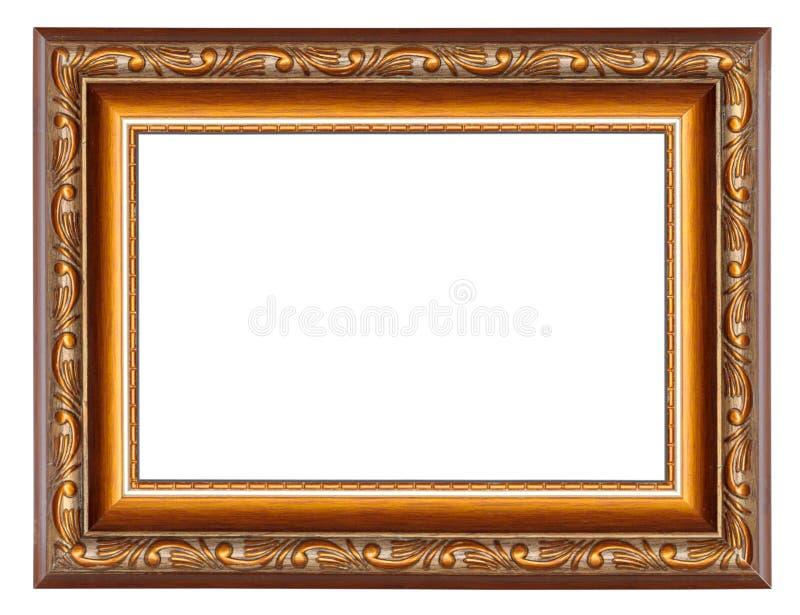Moldura para retrato de Brown com o teste padrão isolado em um branco fotos de stock