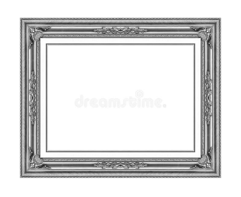 Moldura para retrato de madeira de prata isolada no branco fotografia de stock royalty free