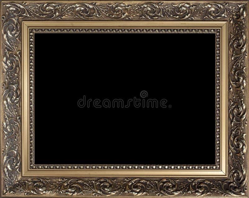 Moldura para retrato de madeira dourada vazia decorativa imagens de stock royalty free
