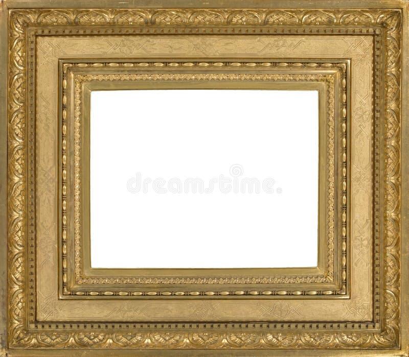 Moldura para retrato de madeira leve dourada para a tapeçaria fotos de stock