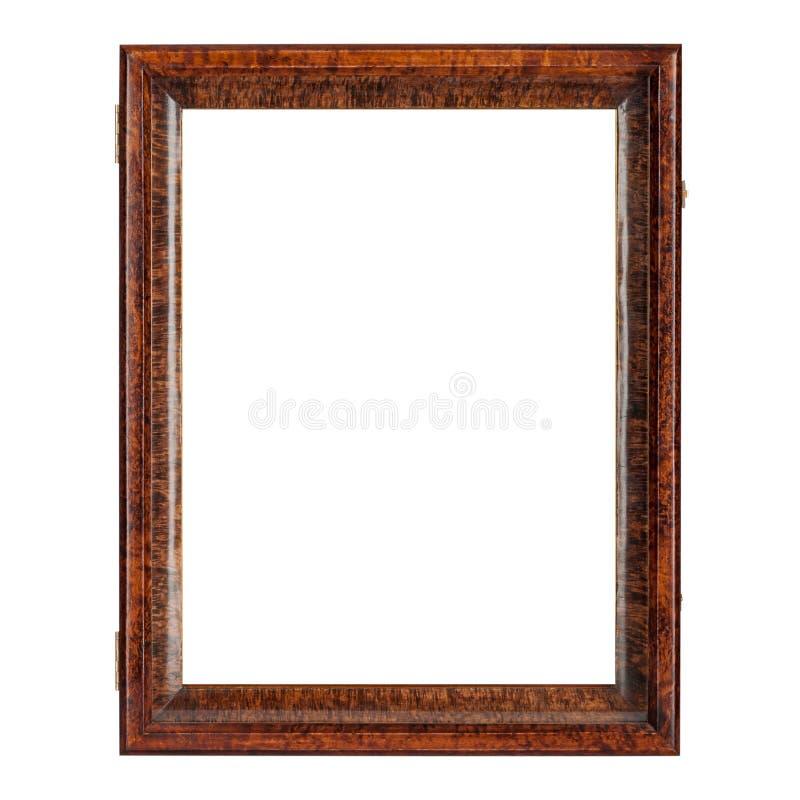 Moldura para retrato de madeira vazia da cor natural do marrom escuro foto de stock