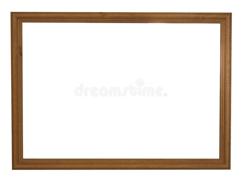 Moldura para retrato de madeira vazia da cor natural do marrom escuro fotografia de stock