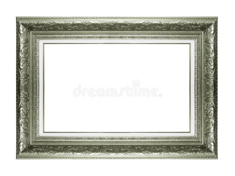 Moldura para retrato de prata isolada no fundo branco foto de stock royalty free