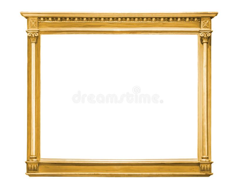 Moldura para retrato decorativa do ouro isolada no branco fotografia de stock