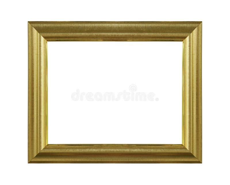 Moldura para retrato decorativa do ouro isolada no fundo branco com trajeto de grampeamento fotografia de stock