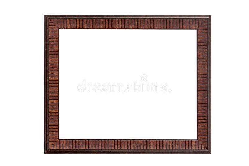 Moldura para retrato do vintage, madeira chapeada isolada no branco com o clippi imagens de stock royalty free
