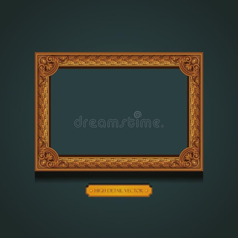 Moldura para retrato do vintage na parede. ilustração royalty free
