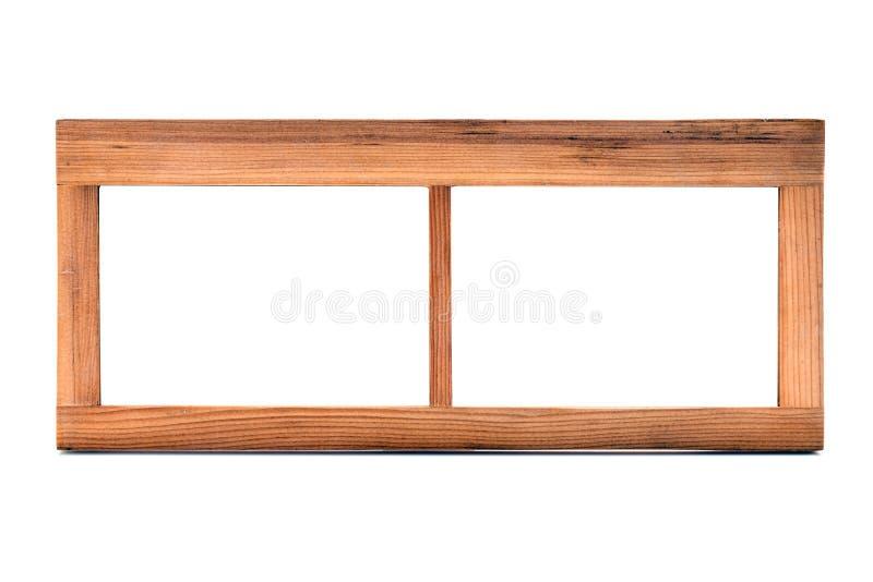 Moldura para retrato dobro de madeira vazia no fundo branco imagens de stock