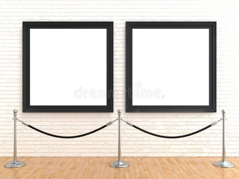Moldura para retrato dois vazia na parede de tijolo, com barreiras da corda do suporte, rendição 3D ilustração stock