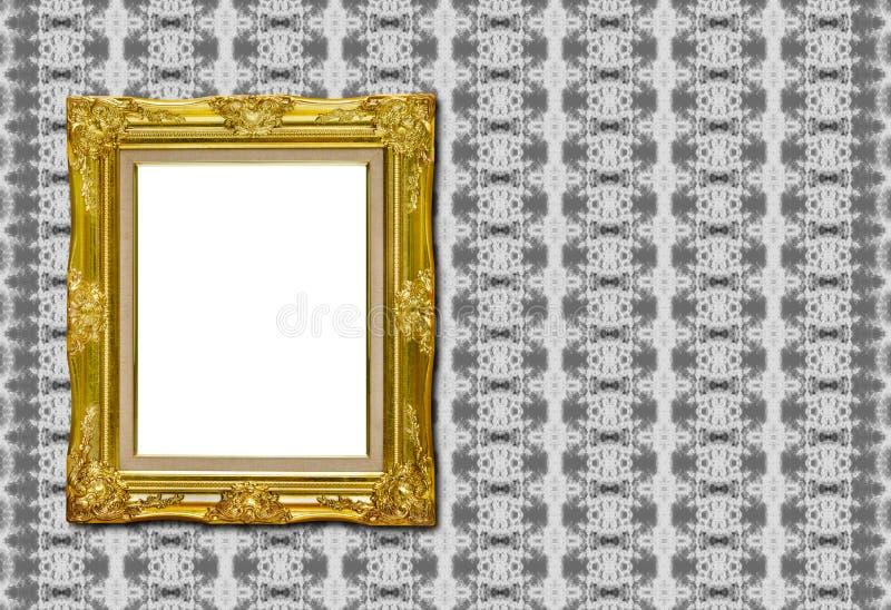 Moldura para retrato dourada antiga na textura da tela fotos de stock royalty free