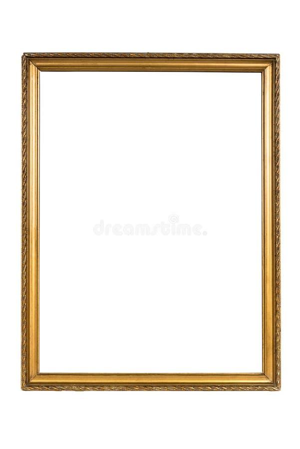 Moldura para retrato dourada decorativa isolada no branco fotos de stock
