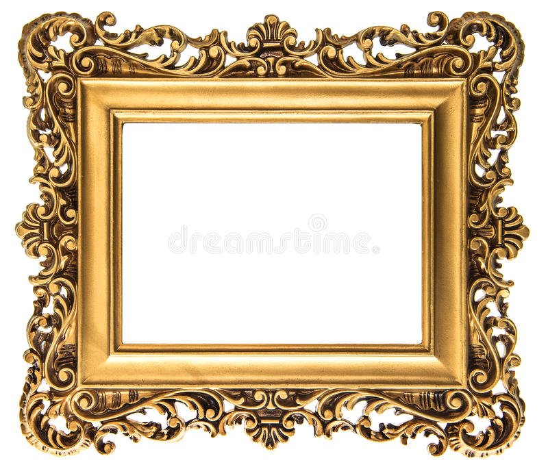 Moldura para retrato dourada do vintage isolada no branco fotografia de stock royalty free