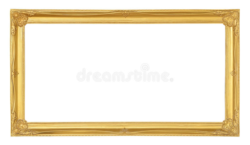Moldura para retrato dourada isolada no fundo branco imagens de stock royalty free
