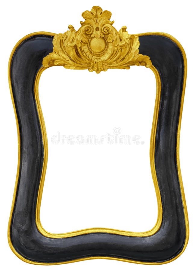Moldura para retrato dourada preta do vintage isolada no fundo branco fotografia de stock
