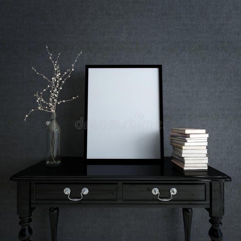 Moldura para retrato e decoração na mesa na casa moderna ilustração stock