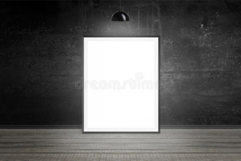Moldura para retrato iluminada com lâmpada Espaço vazio, placa, Livro Branco para o modelo foto de stock royalty free