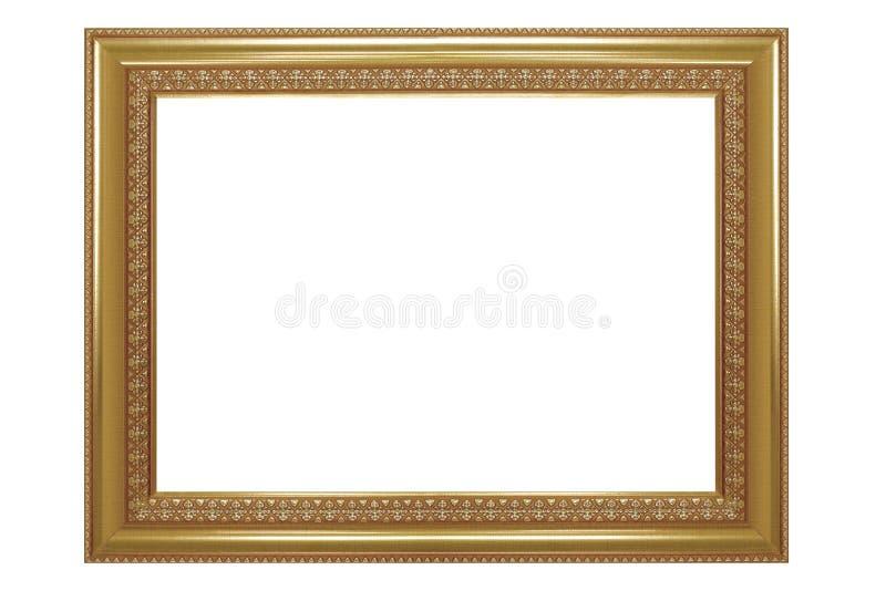Moldura para retrato isolada no fundo branco, dourado antigo vazio fotografia de stock royalty free