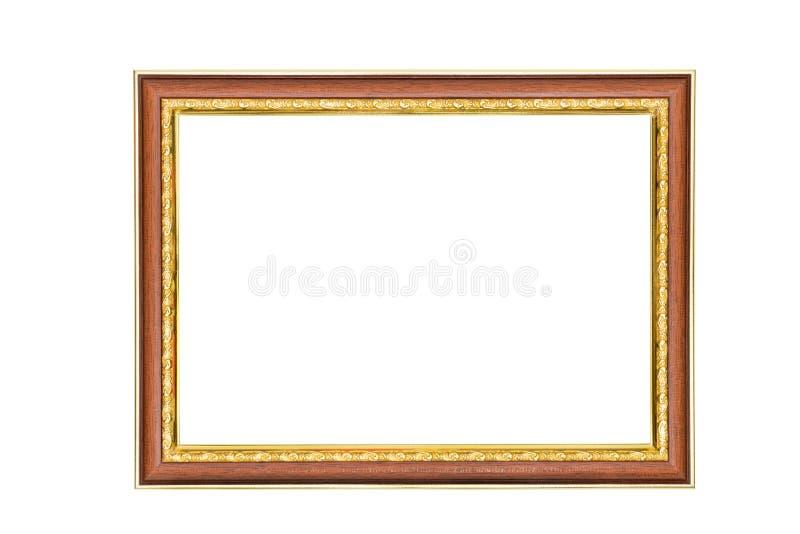 Moldura para retrato marrom dourada antiga isolada no fundo branco, trajeto de grampeamento fotos de stock royalty free