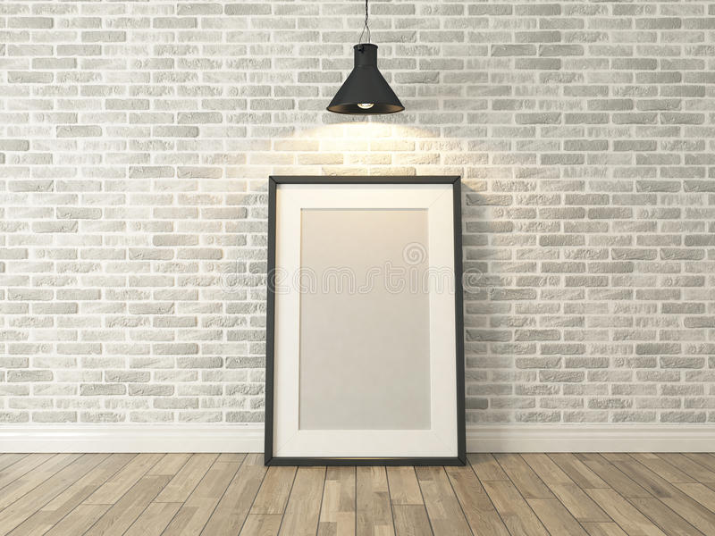 Moldura para retrato na parede e na madeira brancas de tijolo ilustração do vetor
