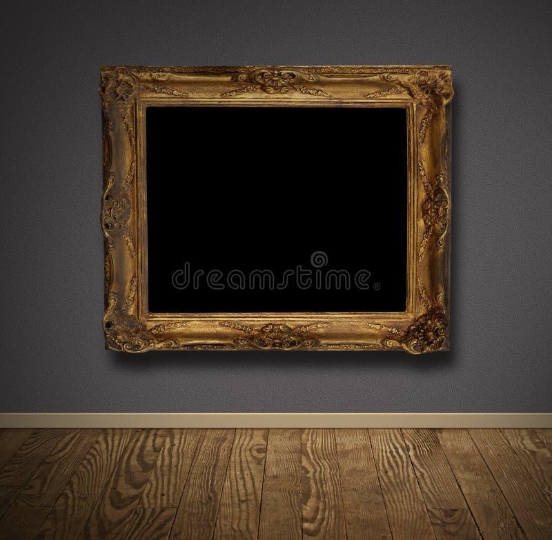 Moldura para retrato na parede velha. foto de stock