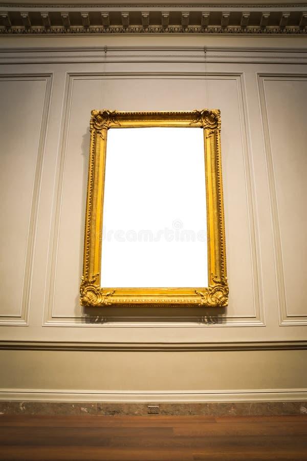 Moldura para retrato ornamentado Art Gallery Museum Exhibit Interior C branco imagem de stock