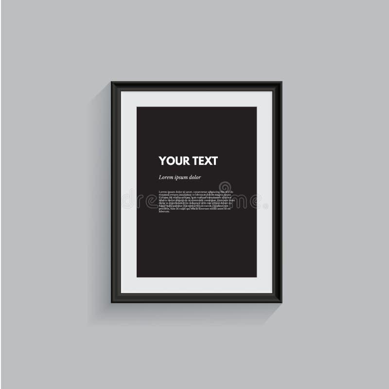 Moldura para retrato preta isolada no cinza Elemento realístico do projeto do vetor ilustração stock
