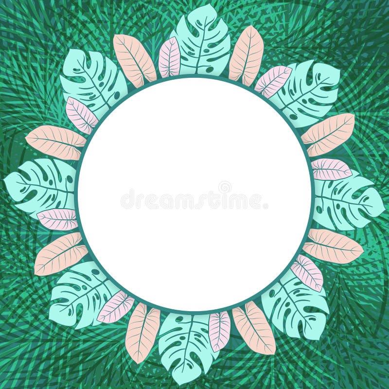 Moldura para retrato tropical verde fresca do círculo ilustração royalty free