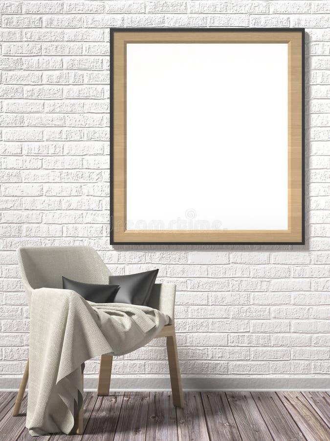 Moldura para retrato vazia com poltrona branca Zombaria acima do cartaz 3d ilustração stock
