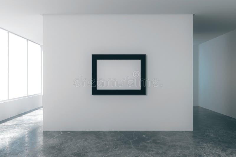 Moldura para retrato vazia na sala vazia do sótão com paredes brancas ilustração royalty free
