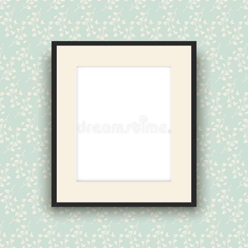 Moldura para retrato vazia no papel de parede do estilo do vintage ilustração do vetor
