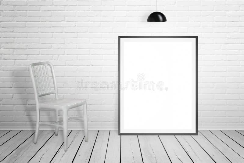 Moldura para retrato vazia para o modelo e cadeira na sala branca imagens de stock