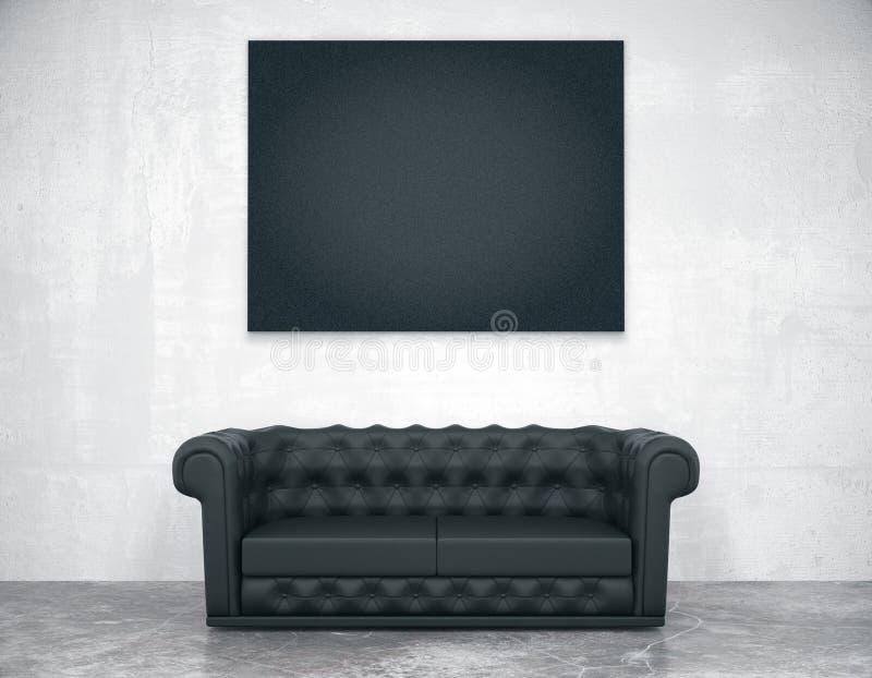 Moldura para retrato vazia preta no sofá do muro de cimento e do couro, ilustração do vetor