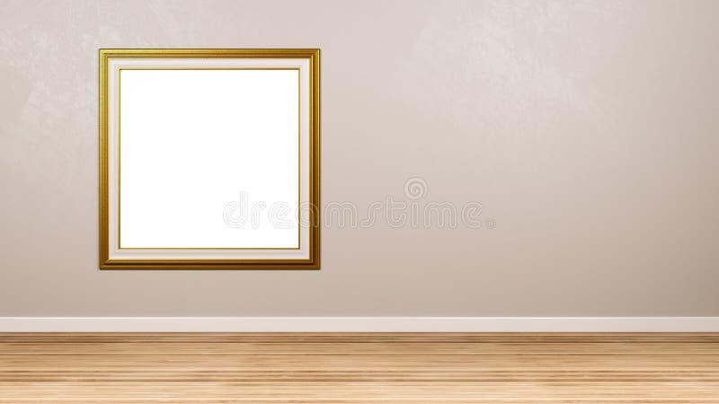 Moldura para retrato vazia quadrada dourada na parede ilustração do vetor