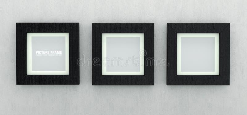 Molduras para retrato de madeira pretas ilustração do vetor
