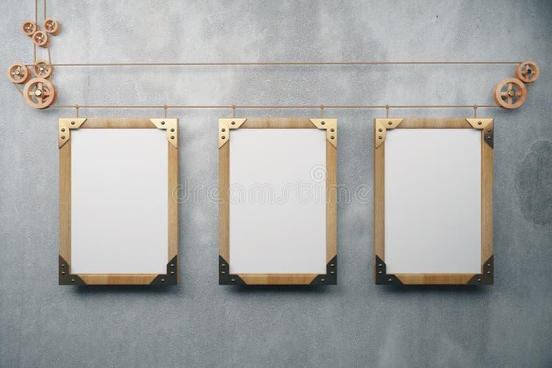 Molduras para retrato de madeira vazias do steampunk no muro de cimento cinzento, moc ilustração stock