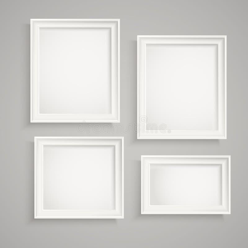 Molduras para retrato diferentes na parede ilustração do vetor