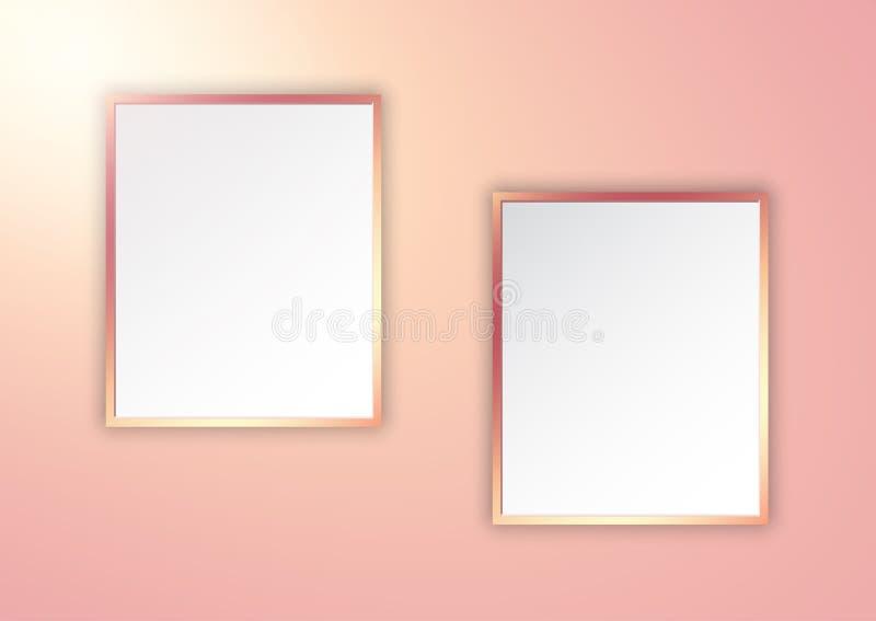 Molduras para retrato do ouro de Rosa na parede do spotlit ilustração royalty free