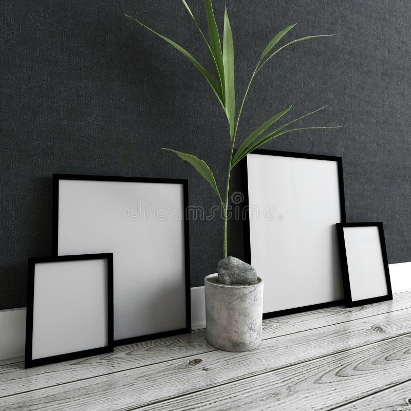 Molduras para retrato e planta em pasta dentro da casa moderna imagens de stock