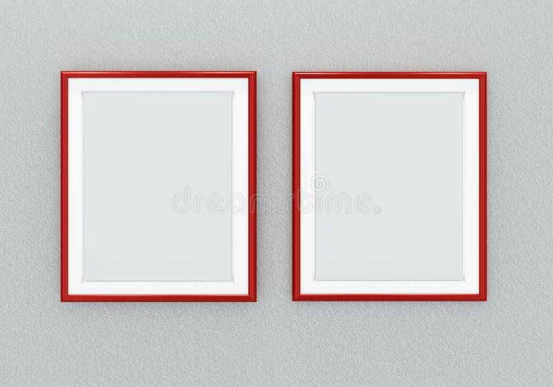 Molduras para retrato vermelhas ilustração royalty free