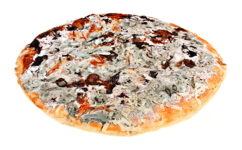 Moldy pizza. Old moldy pizza on a white background. Food poisoning stock photography